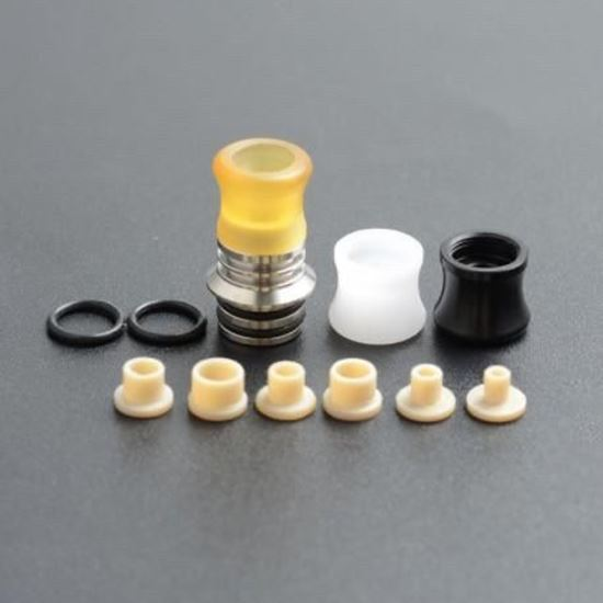 صورة High End KS V2 SS Base + 3 Mouthpiece 510 Drip Tip + 6 Airflow Insert Set - Type C, Silver + White + Black + Brown
